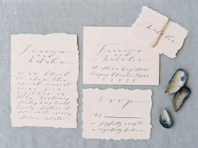 blush wedding invitations with calligraphy
