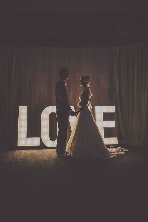 decorating with large marquee letters is a great idea for any wedding style