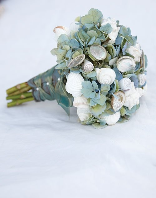 greenery and shell wedding bouquet