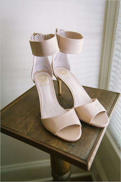 creamy ankle strap low wedding heels are comfy for the whole day
