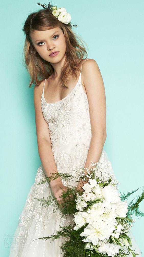 lace and embellishments spaghetti strap wedding dress