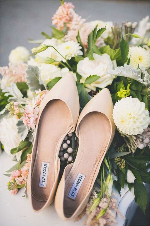 creamy wedding flats are a very cozy choice