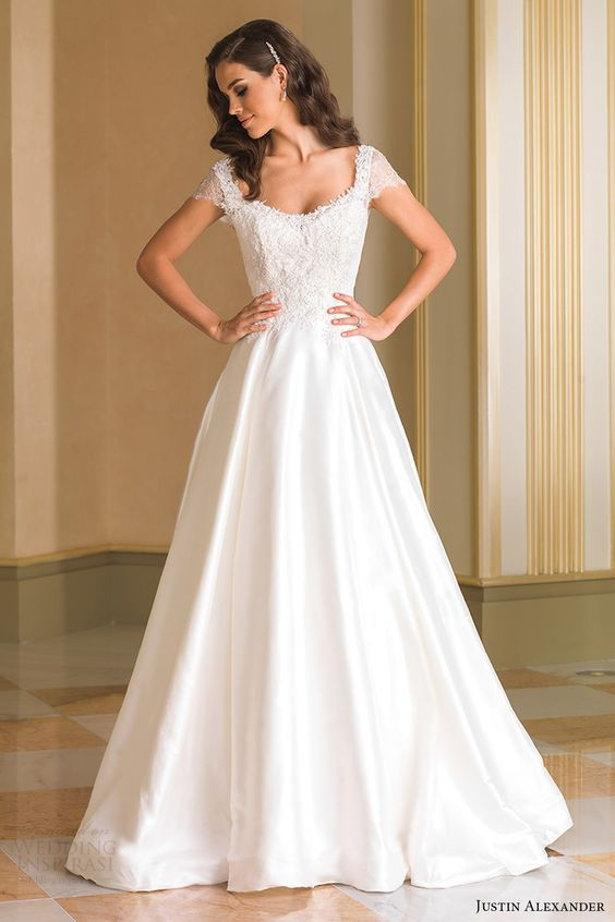 lace bodice with a scoop neckline and cap sleeves, A-line wedding dress