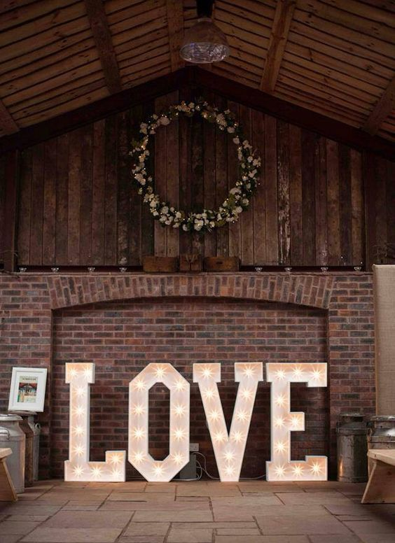 oversized LOVE marquee letters for the wedding venue decor