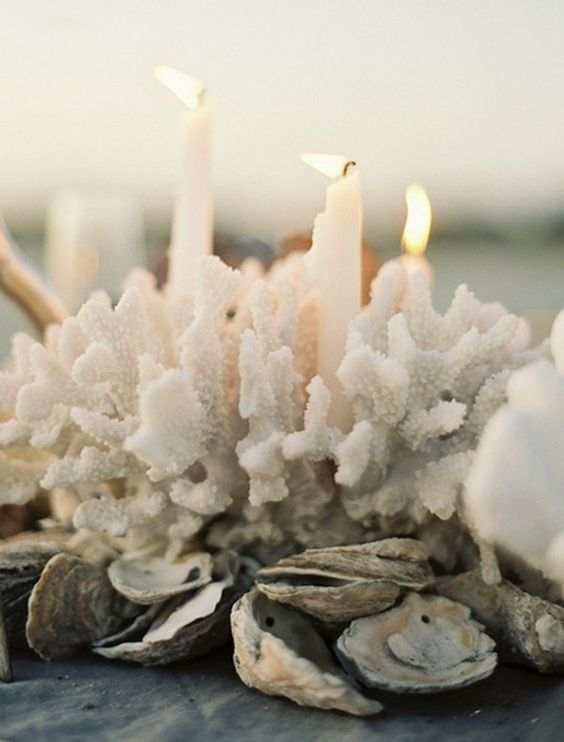 sculptural coral, candles and shells for a unique centerpiece