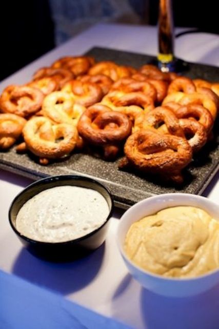 simple pretzel bar with various dips to try