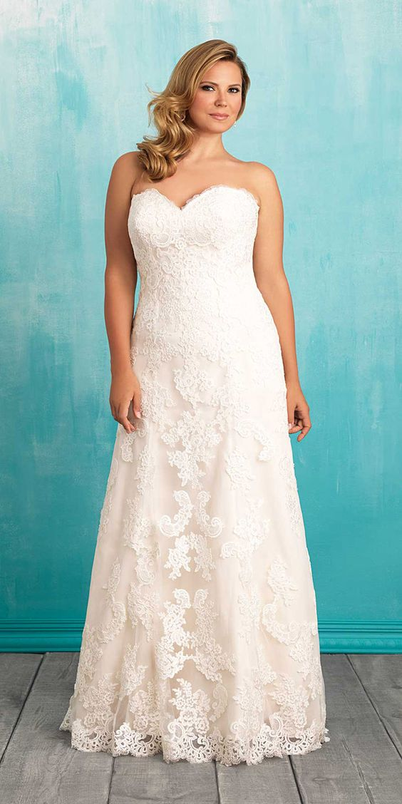 strapless lace A-line wedding dress in romantic blush color