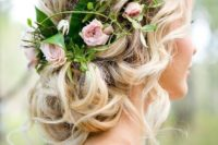 19 updo with fresh garden roses and greenery and lots of locks hanging
