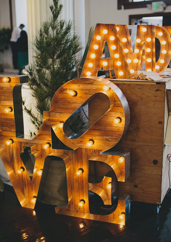 wooden marquee letters are a cool twist on classics
