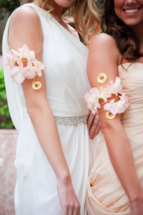 blush floral arm band for the bride and bridesmaids