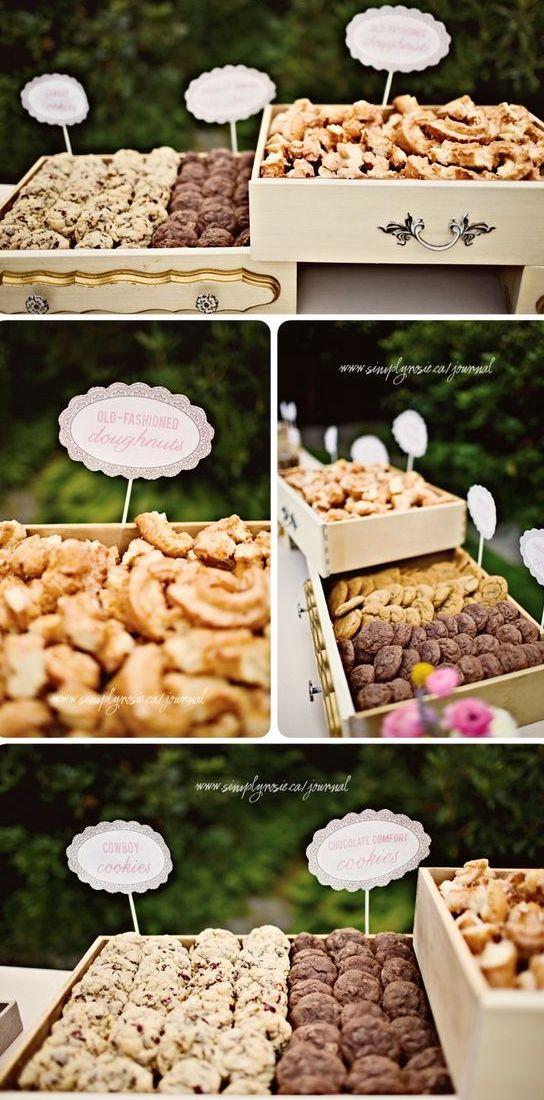 display cookies in vintage looking drawers for a chic look