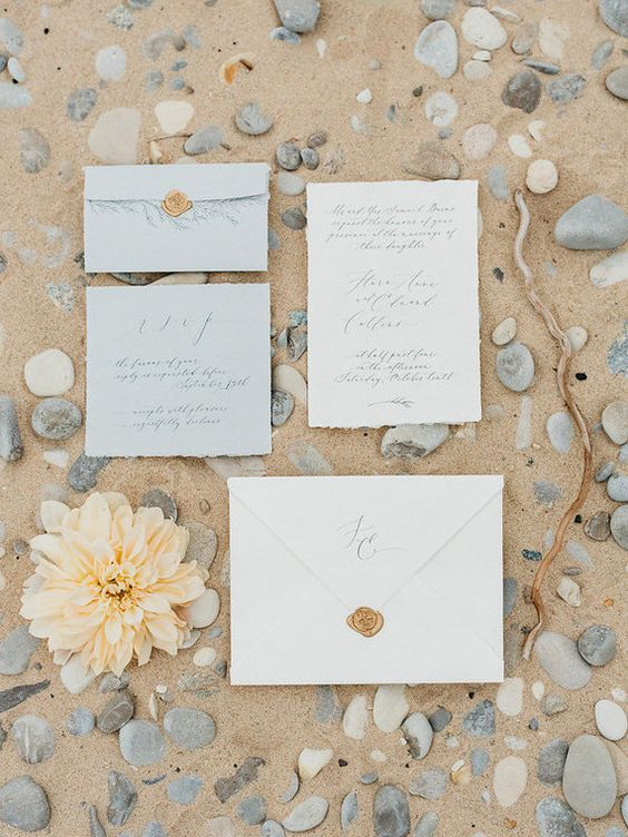 organic neutral invites in shades of grey-green