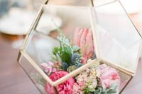 20 wedding centerpiece of a terrarium with bold florals