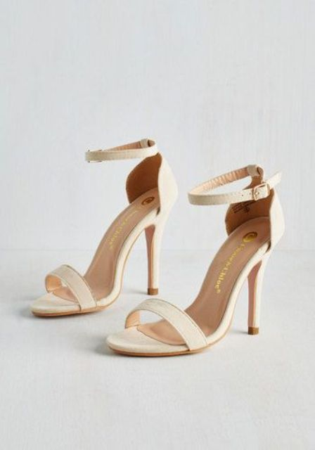 creamy ankle strap sandals are great for casual looks and weddings