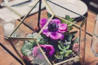 21 geo terrarium with bold purple flowers and succulents
