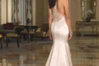 21 jewel neckline and racerback wedding dress with buttons on the back