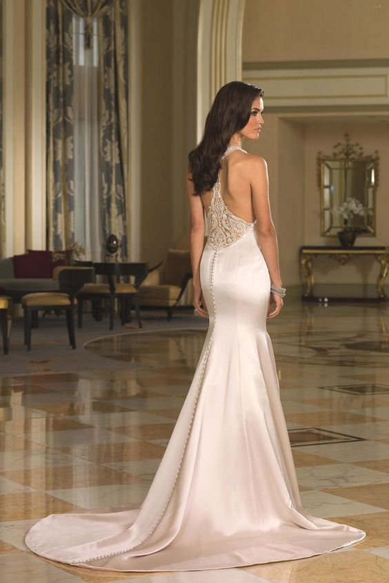 jewel neckline and racerback wedding dress with buttons on the back