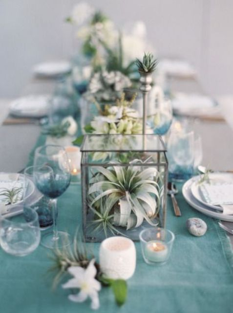 turquoise table runner, air plants, candles and seaglass