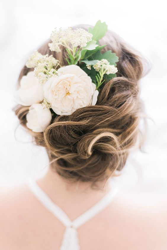 38 gorgeous wedding hairstyles with fresh flowers weddingomania twisted wedding updo with a fresh flower comb and leaves mightylinksfo