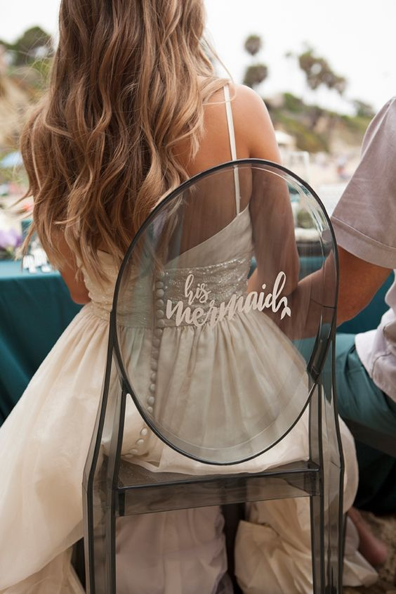 chair calligraphy decor for mermaid brides