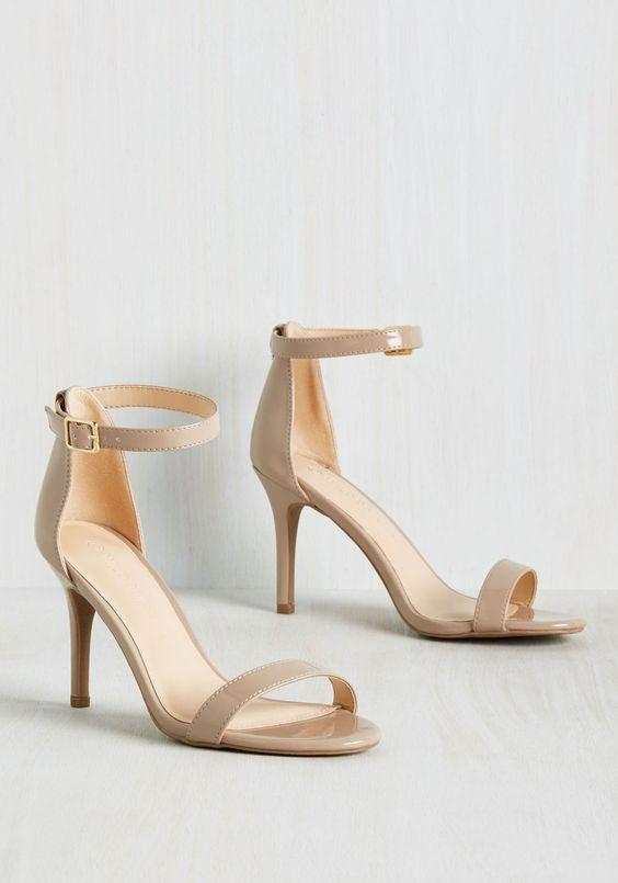perfect minimalist ankle strap beige heels