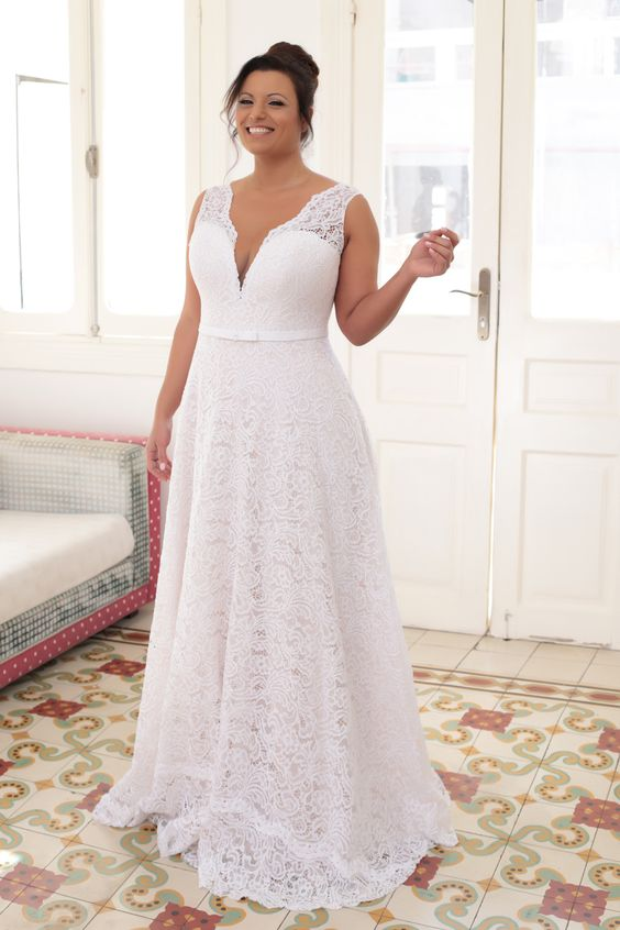 white wise strap plunging neckline wedding dress of lace