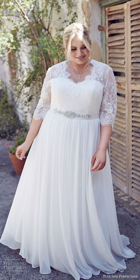 Picture Of White Plus Size Wedding Dress With Half Sleeves And A