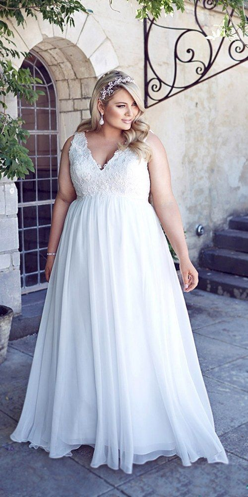 Picture Of V Neck Wedding Dress With A Lace Bodice And Plain Skirt