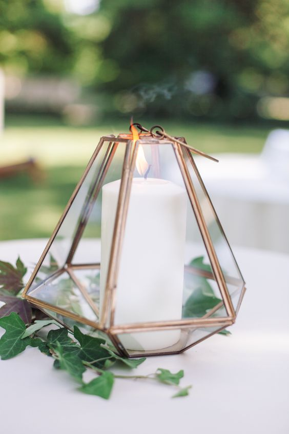 a terrarium may contains a candle and be used for lighting the table