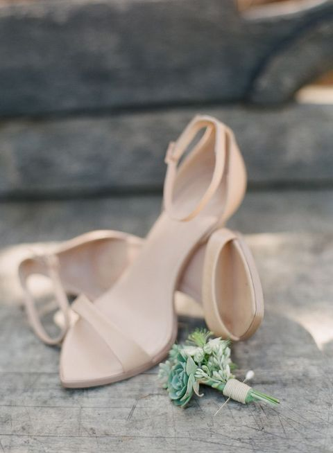 beige ankle strap heeled sandals for a summer bride