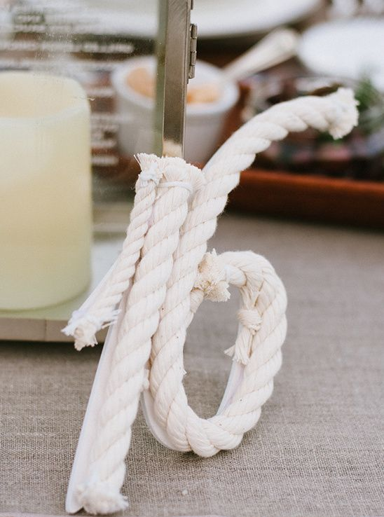 rope table numbers are right what you need for a nautical or sea wedding