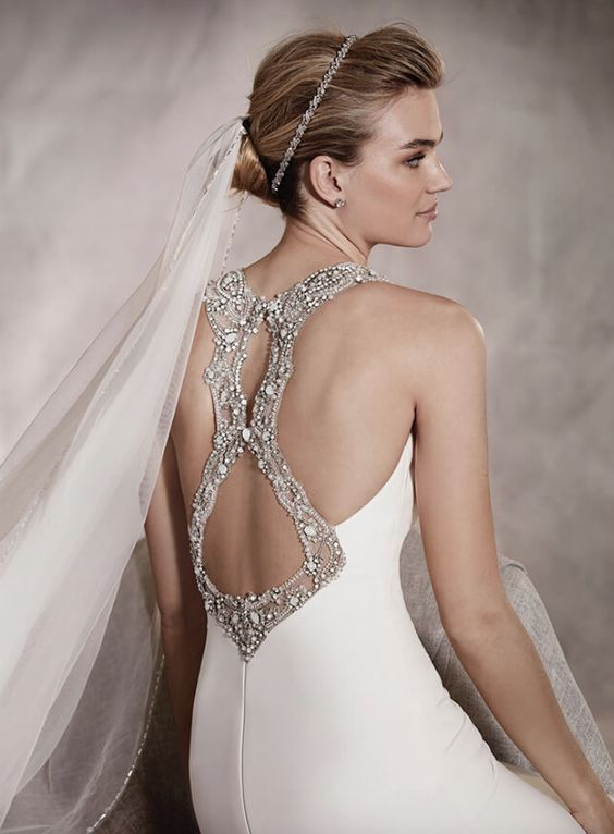 stunning jewel racerback wedding dress with cutouts