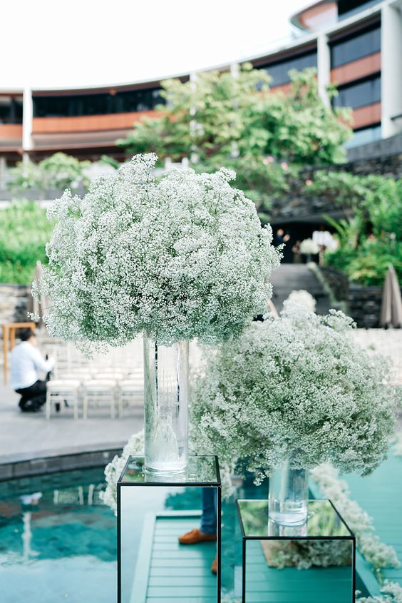 baby's breath statement wedding ceremony decor