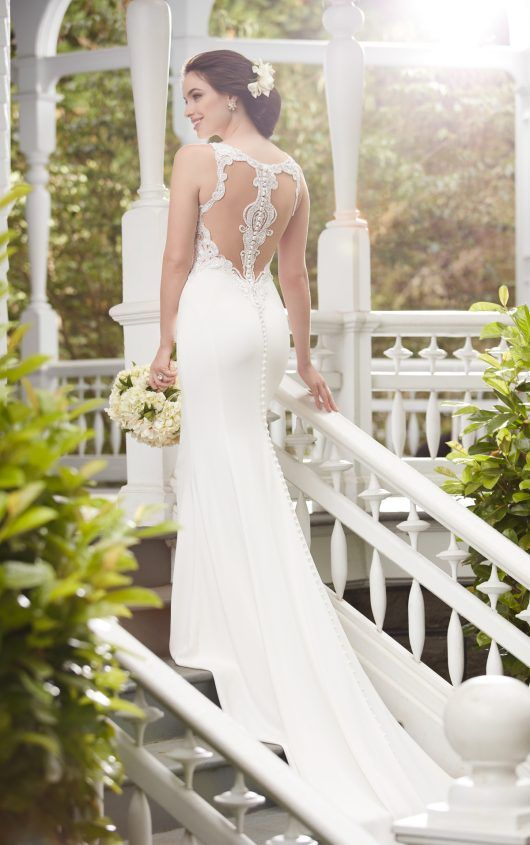 elegant wedding dress with an illusion racerback on buttons
