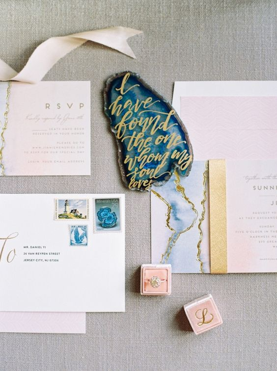 agate print wedding stationary and calligraphy agate slices
