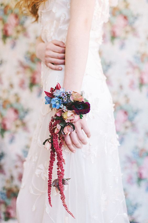 unique colorful floral bracelet for the bride