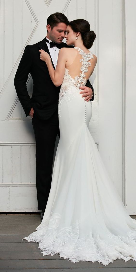 illusion racerback wedding dress with a mermaid silhouette