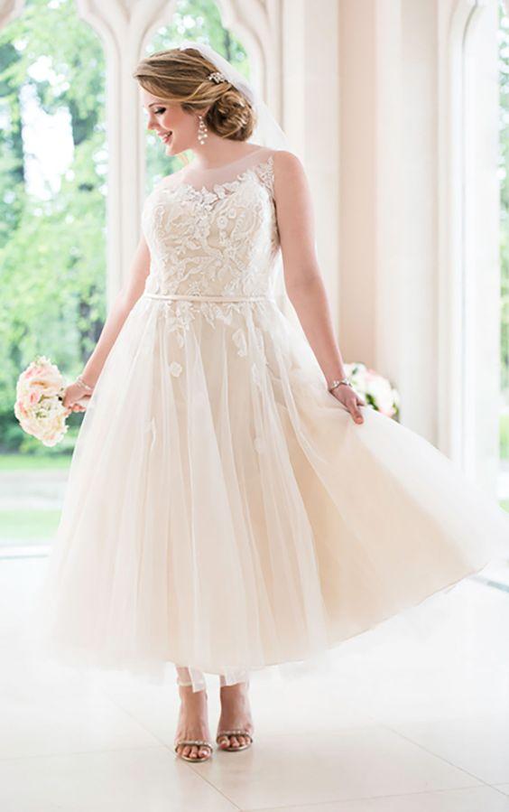 tea-length illsuion neckline wedding dress with lace appliques
