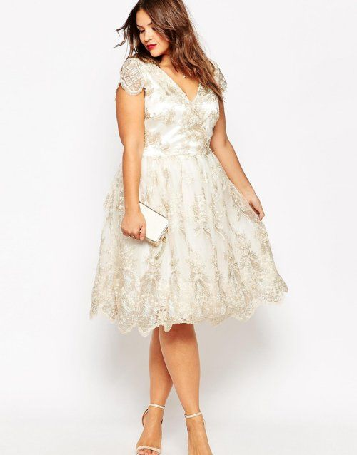 V-neck cap sleeve short wedding dress with gold lace appliques