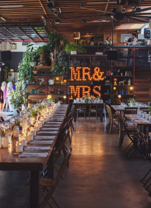 industrial venue with Mr&Mrs marquee letters
