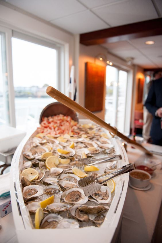 oyster bar in a canoe is a very interesting idea
