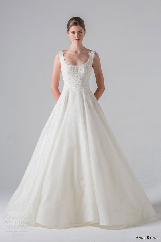 strap scoop neck wedding dress, silk organza over chantilly lace