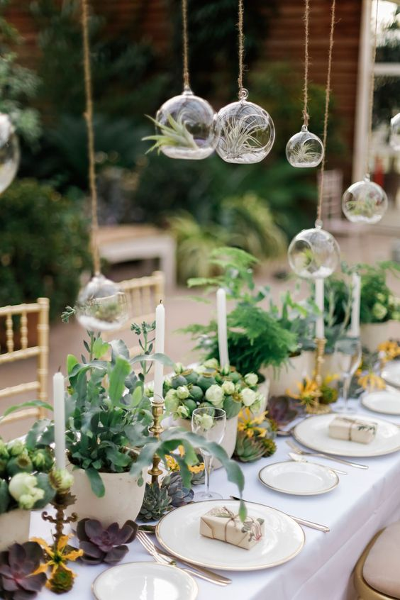 tiny hanging terrariums with air plants over the reception