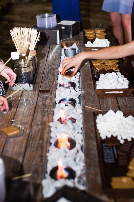 awesome rustic s'more station is an ideal thing for any wedding