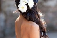 29 curly half updo with fresh white blooms
