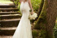 29 lace fit and flare wedding dress with an illusion racerback