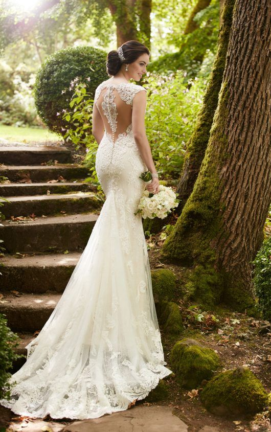 lace fit and flare wedding dress with an illusion racerback
