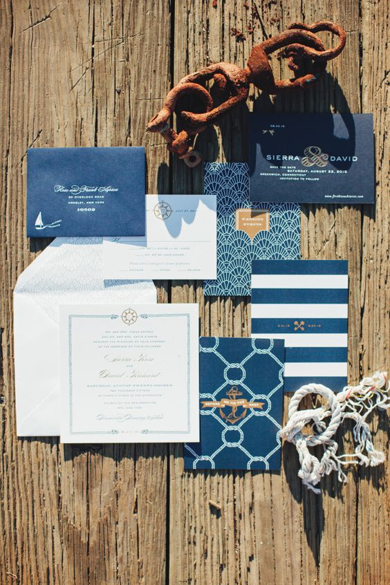 nautical invitations with stripes and just navy envelopes, sea-inspired prints