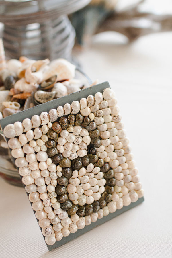 shell incrusted table number looks wow