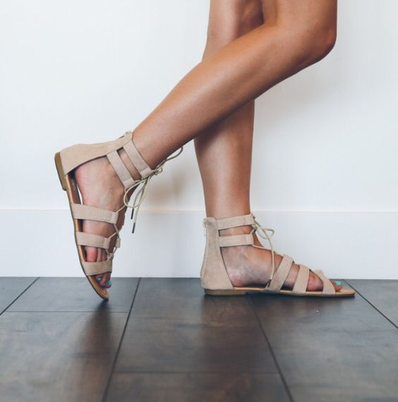boho beige lace and strap sandals